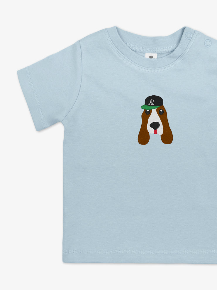 Kurzarm Babyshirt Eduard the dog - Hellblau