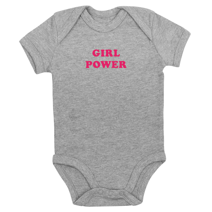 Girl Power Kurzarm-Babybody in Grau von Babylotta