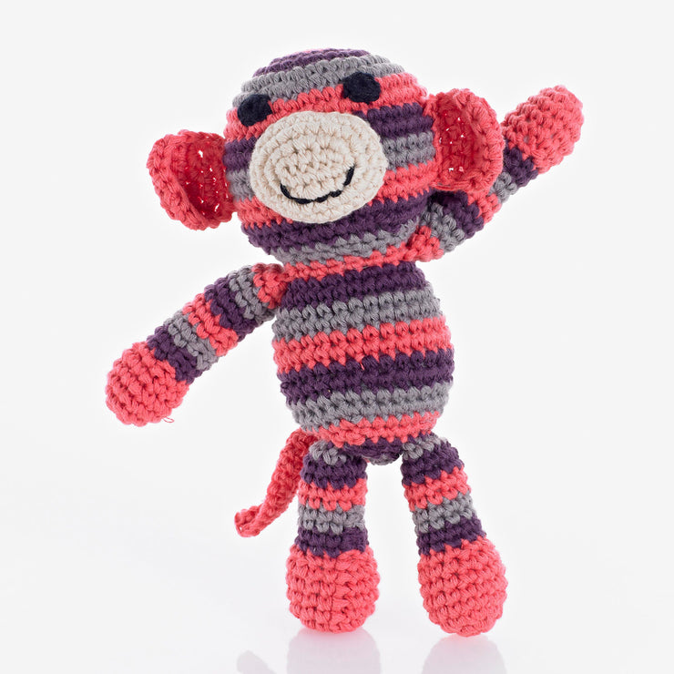 Häkelrassel Monkey in Rosa