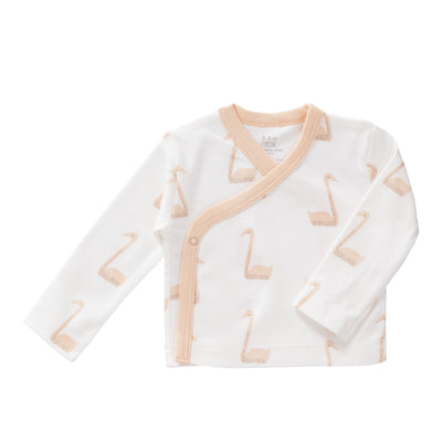 Bio Baby Wickelshirt Schwan in Pale Peach