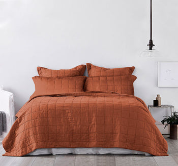 Harley Washed Cotton Queen Bed and King Bed Coverlet Set Brick