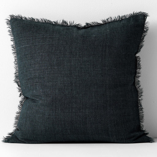 Vintage Linen Fringe 50x50cm Filled Cushion Slate