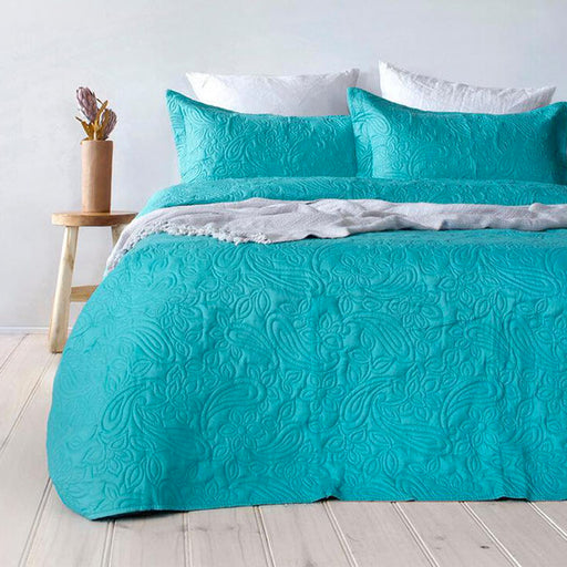 Embossed Paisley Queen to King Bed Coverlet Set Peacock