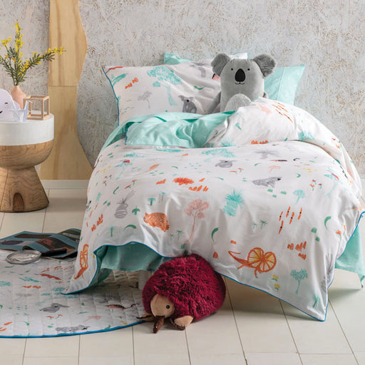 Aussie Friends Quilt Cover Set Range Aqua