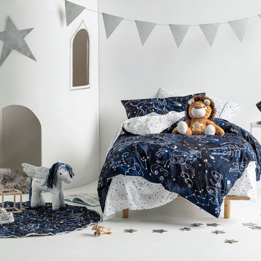 Star Atlas Single Bed Quilt Cover Set Navy