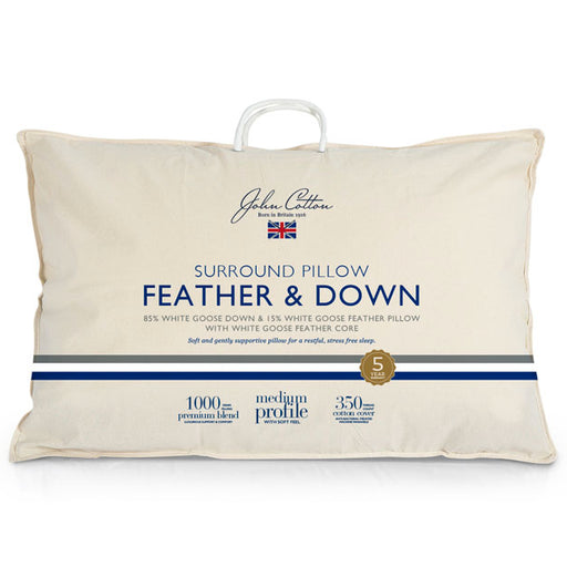 White Goose 85 Down and 15 Feather Surround Medium Standard Pillow