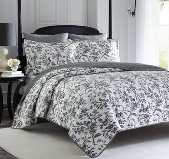 Amberley Queen Bed Coverlet Set Black and White