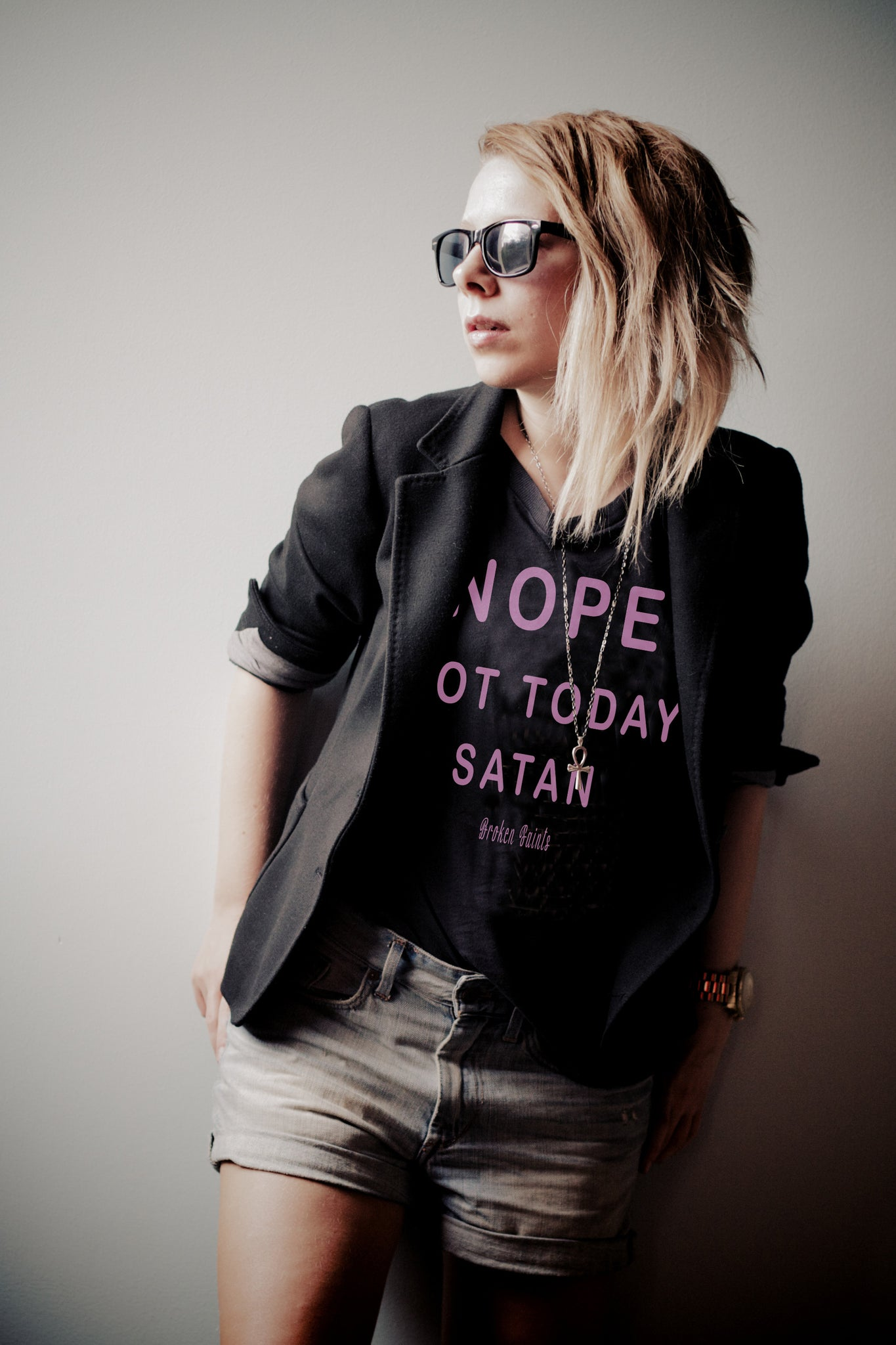 Broken Saints Nope Not Today Satan Ladies Tee