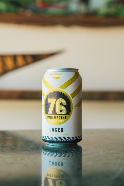 "A photo of a ""76 Wolverine"" beer can. This is the name of our lager."