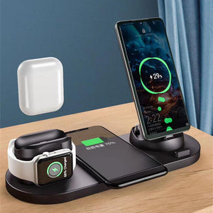 6-in-1 iPhone Airpods Apple Watch Wireless Charger Base  Micro USB Type C Fast Charging