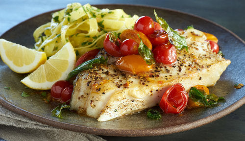 Pan Seared Alaska Halibut Steaks with Cherry Tomatos and Basil