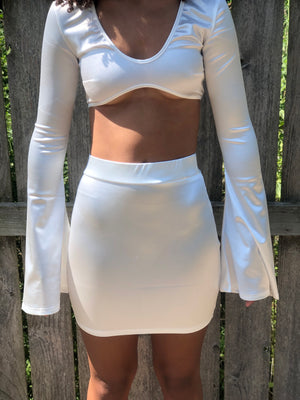 Flowy Sleeve Matching Mini Skirt Set