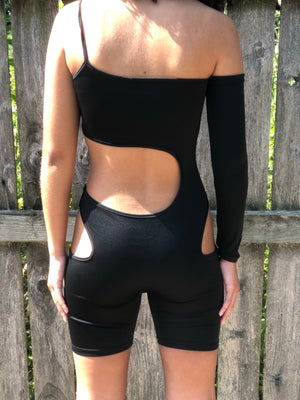 Peak-a-Boo Biker Short Jumpsuit