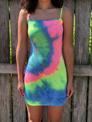 Tie Die 4 Skinny Strap  Mid Dress