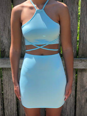 Criss Cross Mini Skirt Matching Set