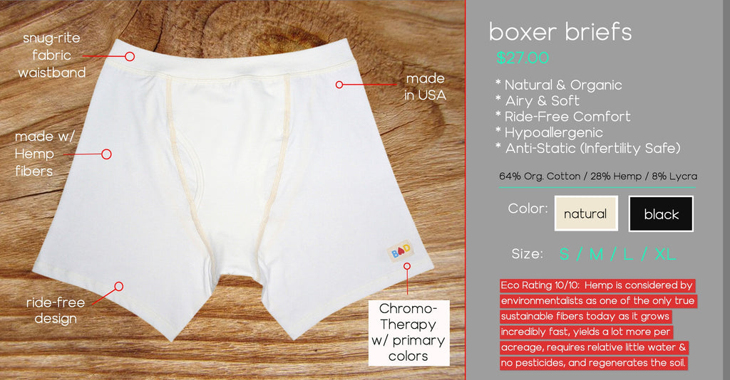 organic hemp boxer briefs underwear for men.  Hemp Clothing for Men