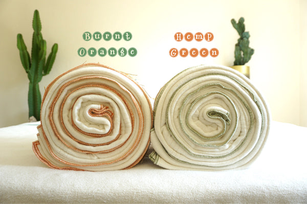 Burnt Orange & Hemp Green Organic Hemp Blanket