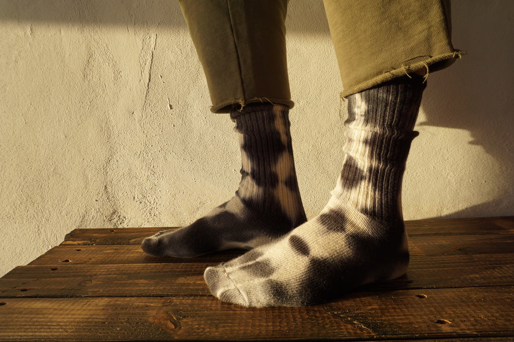 black shibori tie dyed hemp socks