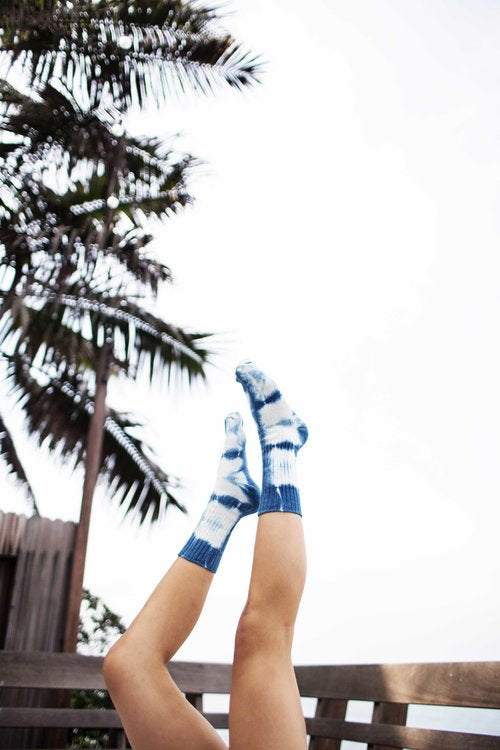 indigo shibori dyed hemp socks