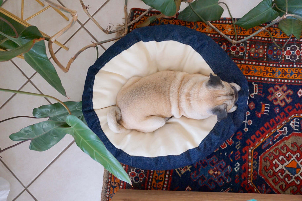 organic pet bed made from hemp, linen, kapok, natural latex, & cotton