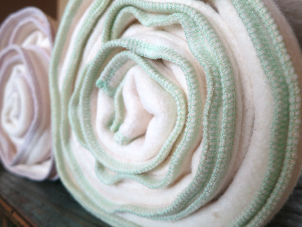 Sea Foam Green Hemp Cotton Fleece Baby Blanket