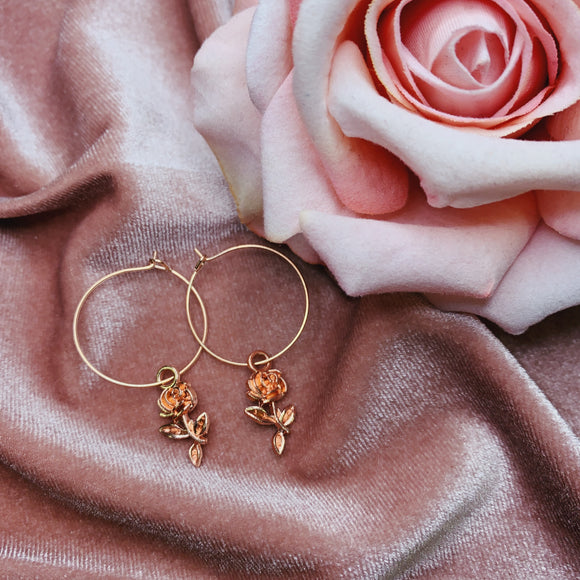 Rose gold Rose hoops