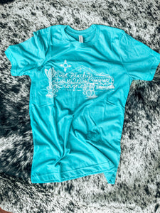 Just Peachy DWD Logo Tee- Turquoise