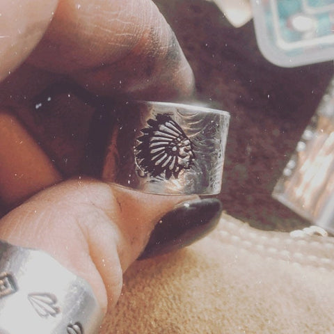 Headdress Hand Stamped Ring