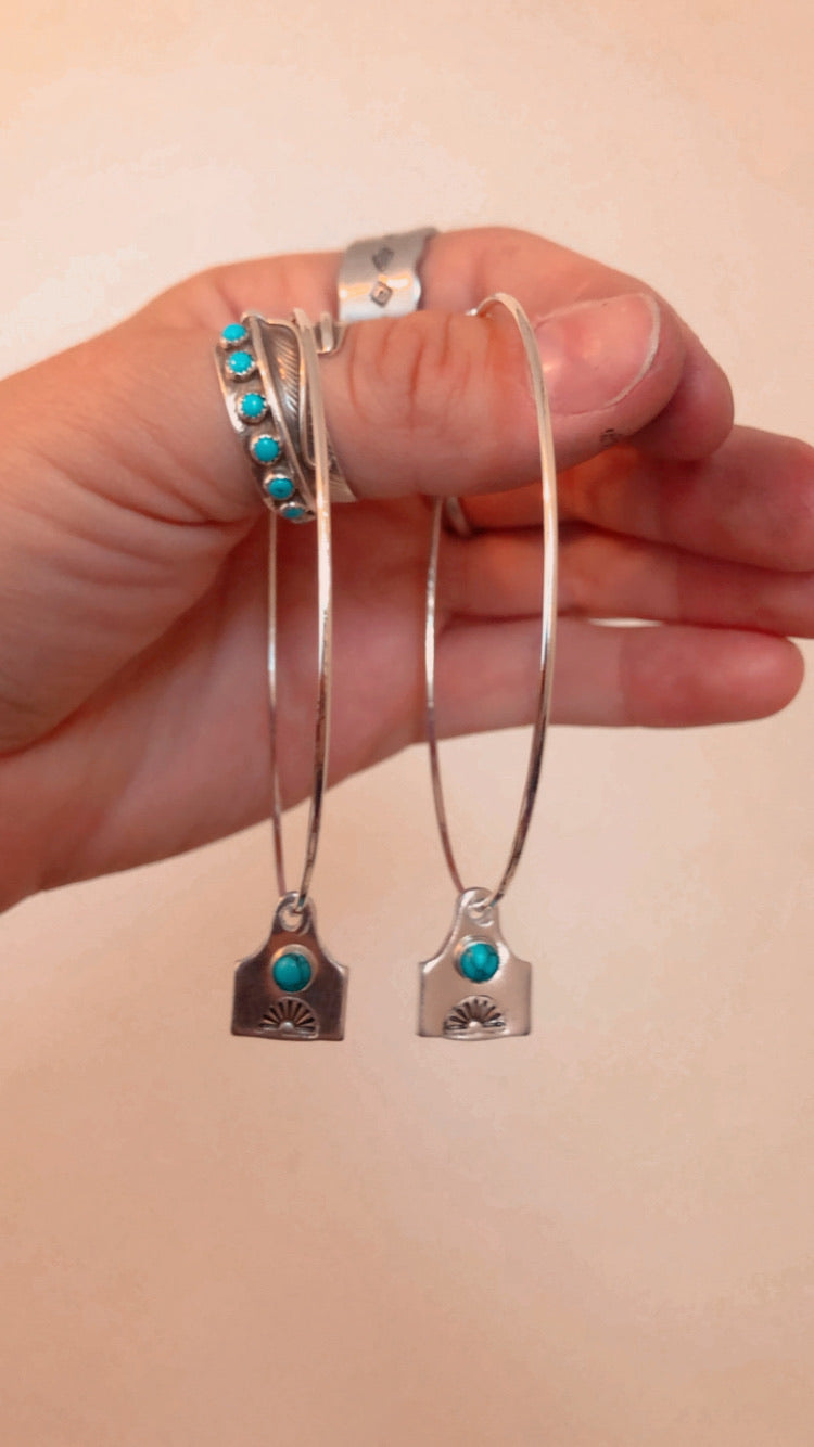 Large Cowtag Hoop Earrings