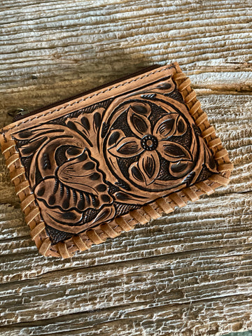Tooled Leather Coin Pouch