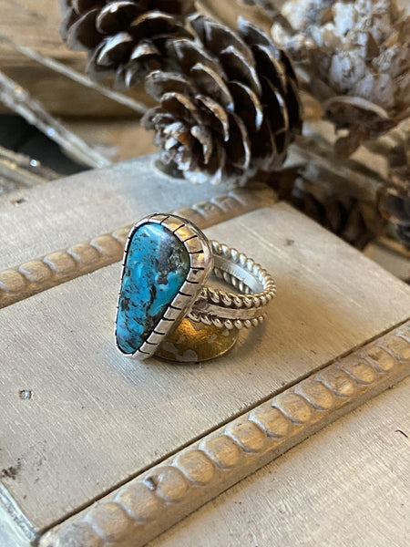 Turquoise and Sterling Silver Navajo Ring Size 7