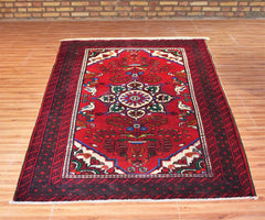 Hand Knotted Vintage Baluchi Persian Rug, 105 x 167 cm