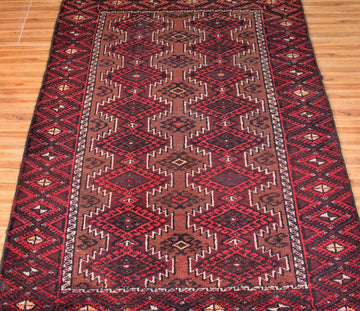 Hand Knotted Vintage Baluchi Persian Rug, 90 x 177 cm