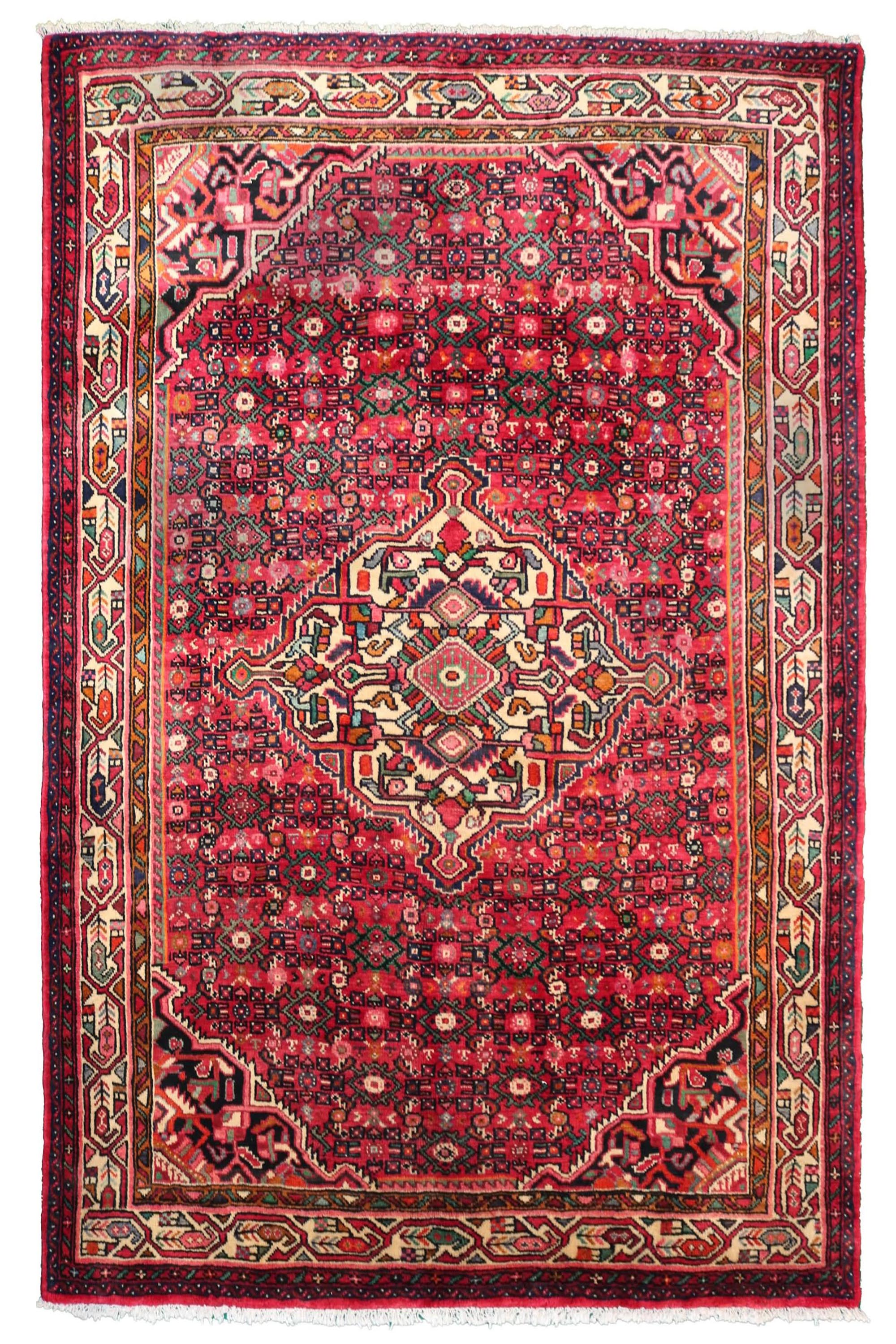 Hand Knotted Vintage Hamadan Persian Rug, 160 x 207 cm