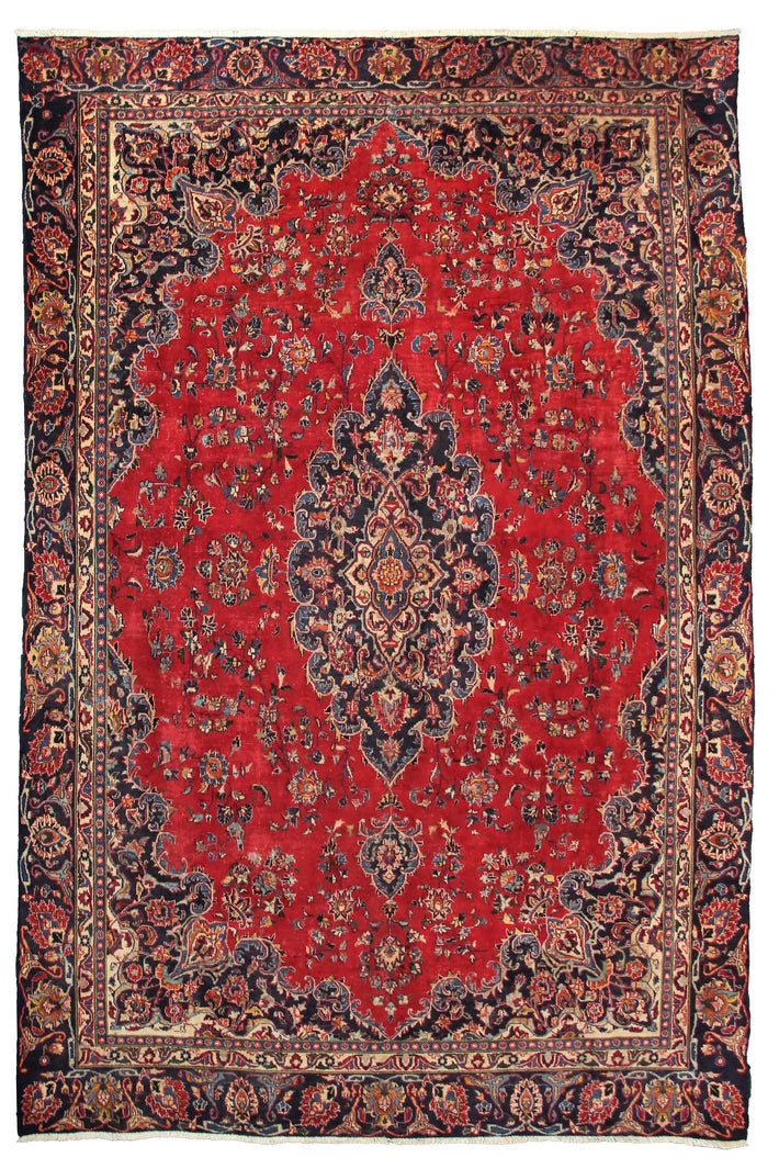 Hand Knotted Vintage Mashad Persian Rug, 270 x 373 cm