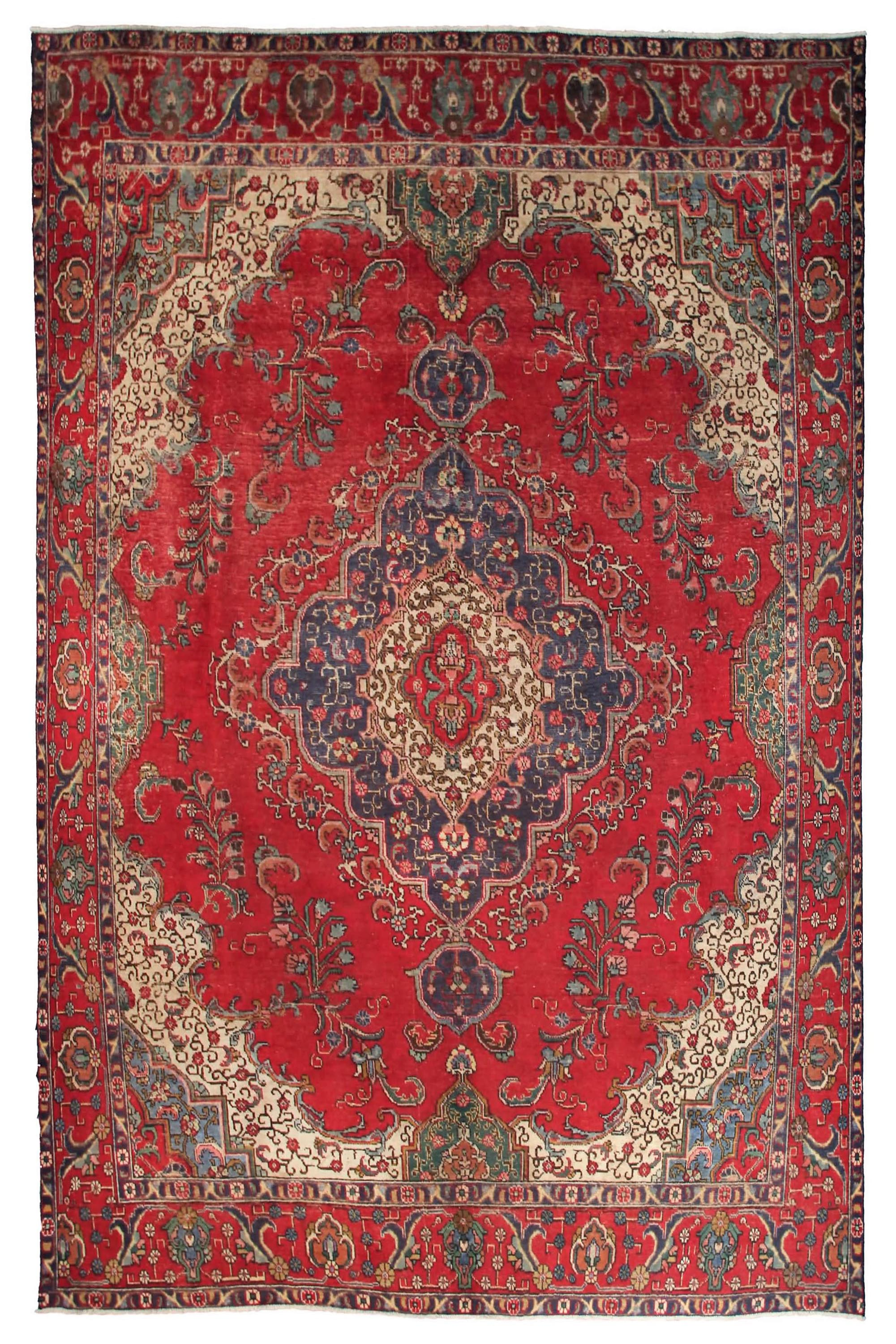 Hand Knotted Antique Tabriz Persian Rug, 296 x 385 cm