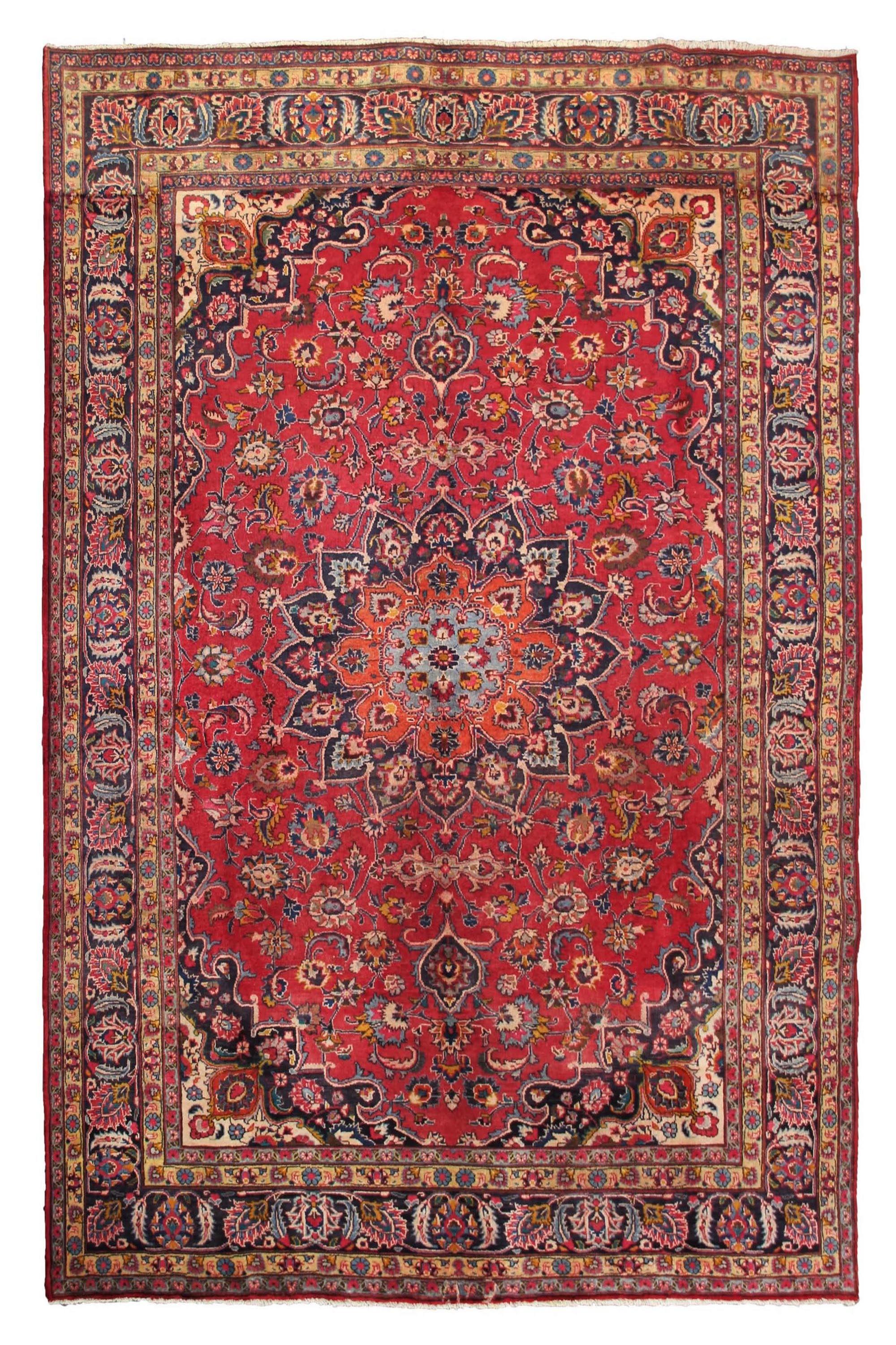 Hand Knotted Vintage Mashad Persian Rug, 198 x 295 cm