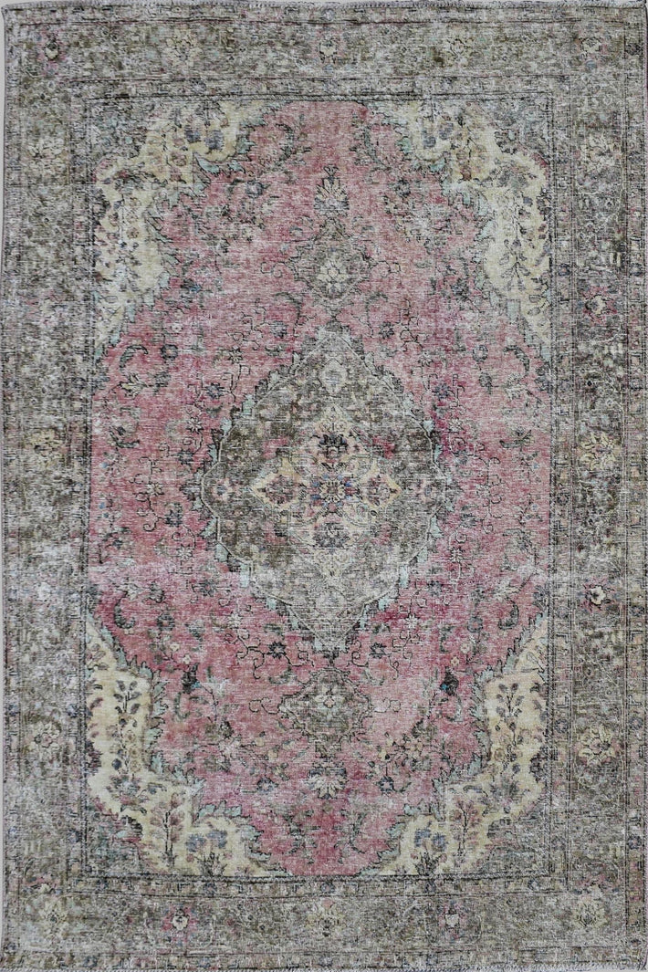 DISTRESSED Hand Knotted Vintage Persian Rug, 195 x 285 cm