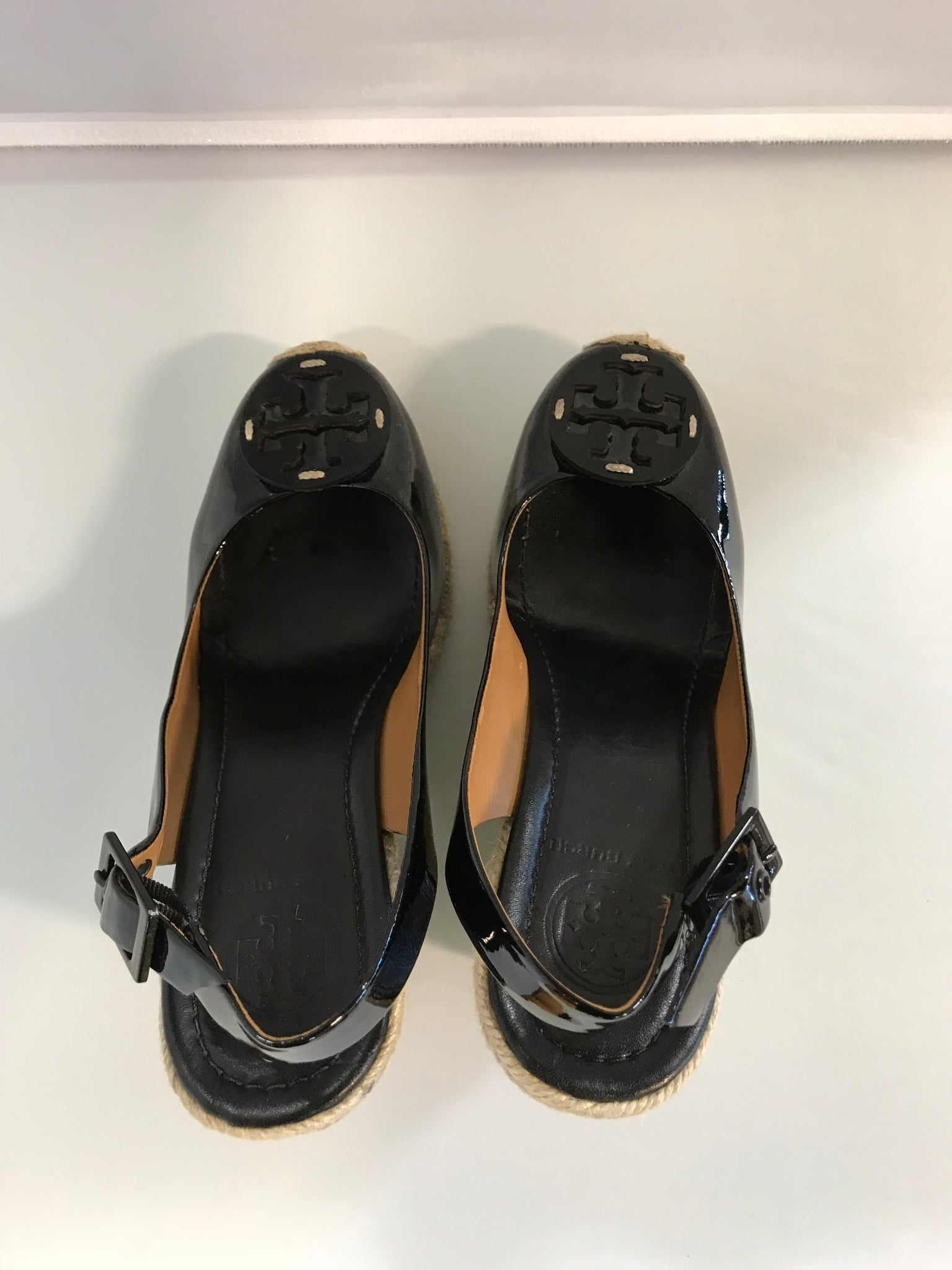 Tory Burch Black Adjustable strap Wedge