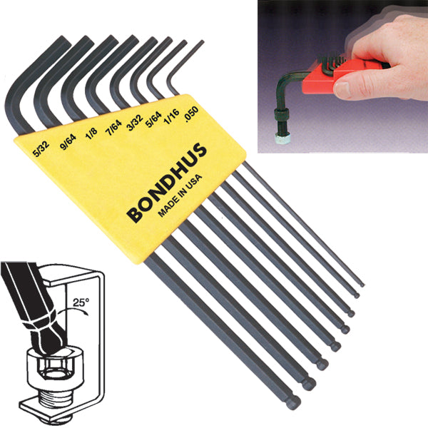 "Bondhus 10932 Ball End Inch Hex Key Set 8 Pieces .050"" to 5/32"""