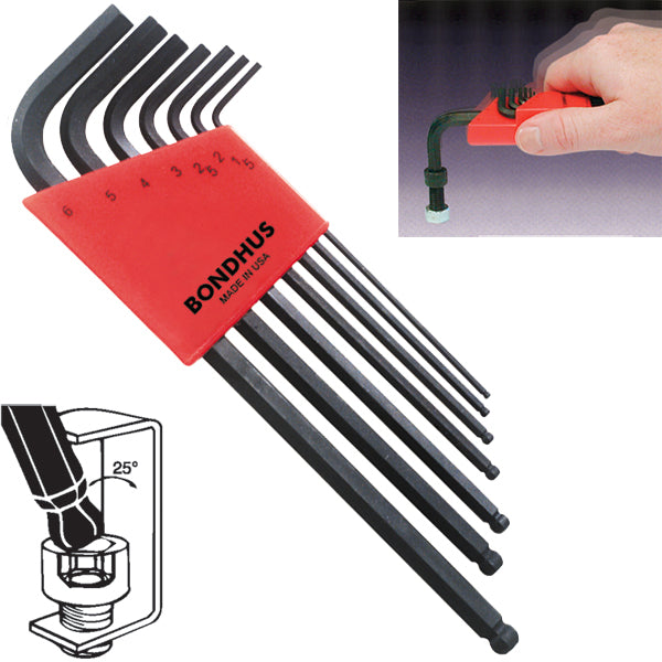 Bondhus 10992 Ball End Metric Hex Key Set 7 Pieces 1.5mm to 6mm