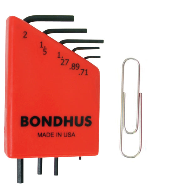 Bondhus 12242 Micro Mini Metric Hex Key Set (L-Wrenches) 5 Pieces 0.71mm to 2mm