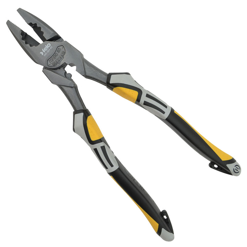 "Felo 63817 High Leverage Lineman's Pliers 9-1/2"" with Crimper and Fish Tape Puller"