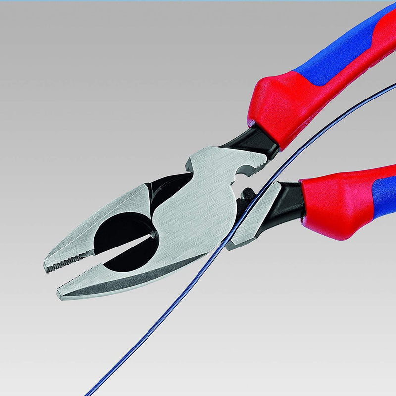 "Knipex 09 12 240 9-1/2"" New England Style High Leverage Lineman's Pliers with Crimper and Fish Tape Puller Comfort Grips"
