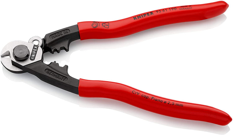 Knipex 95 61 190 Wire Rope Cutter (Wire Rope Shears) with Crimping Dies