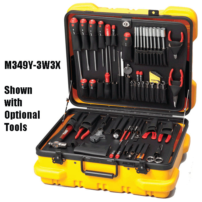 "Crawford M349Y-3W3X Tool Case Military Style 9"" Yellow with 3W and 3X Pallets"
