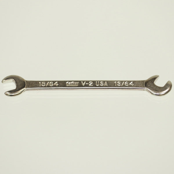 "Vim Tools V-2 Miniature Open-End Wrench 15/64 + 13/64"" - Crawford Tool"