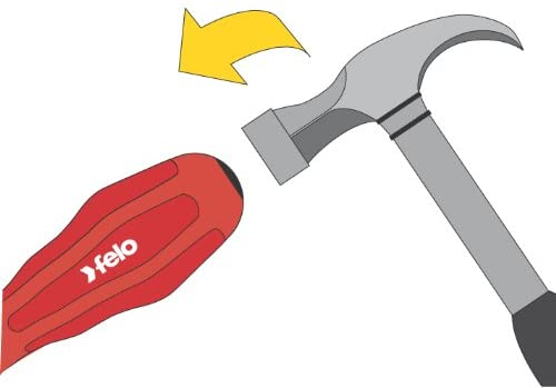 "Felo 13166 Slotted 3/8"" (10mm) x 7"" Extra Heavy-Duty Flat Blade Screwdriver with Steel Cap and Hex Bolster"