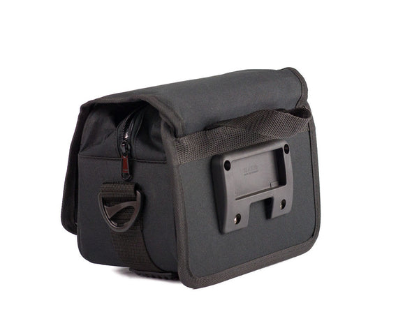 View of the Kulie UrbanTourist messenger bag and the plastic piece that attaches it to your bike