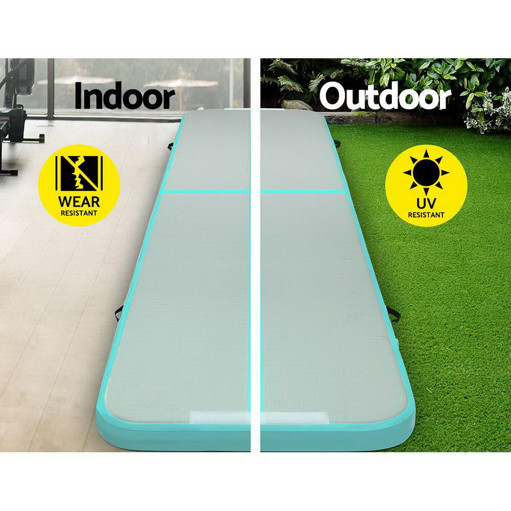 Everfit GoFun 4X1M Inflatable Air Track Mat with Pump Tumbling Gymnastics Green - [HappyShopping.com.au]